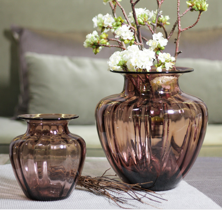 Mouth Blown Decorative Glass Flower Vases / Hand Wash Three Size Pink Glass Vase